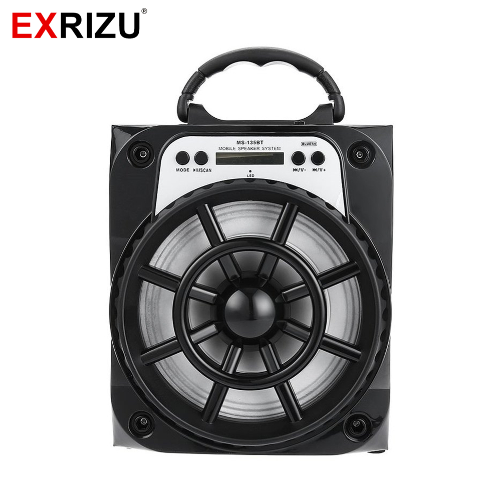 EXRIZU MS-135BT Wireless Bluetooth Powerful 15W Outdoor Portable LED Light Speaker Subwoofer Music BoomBox Speakers TF Radio USB exrizu ms 136bt portable wireless bluetooth speakers 15w outdoor led light speaker subwoofer super bass music boombox tf radio