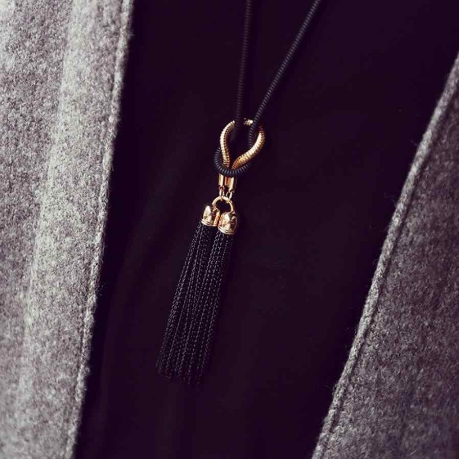 Charme feminino colares requintado todo o jogo corrente borla camisola longa corrente colar jóias acessórios gargantilha trinket