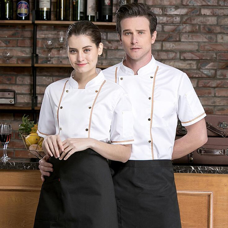 Chef's Overalls Men's Women Short Sleeves Thin Kitchen Plus Size Jacket Breathable Restaurant Dining Hotel Work Uniform H2079