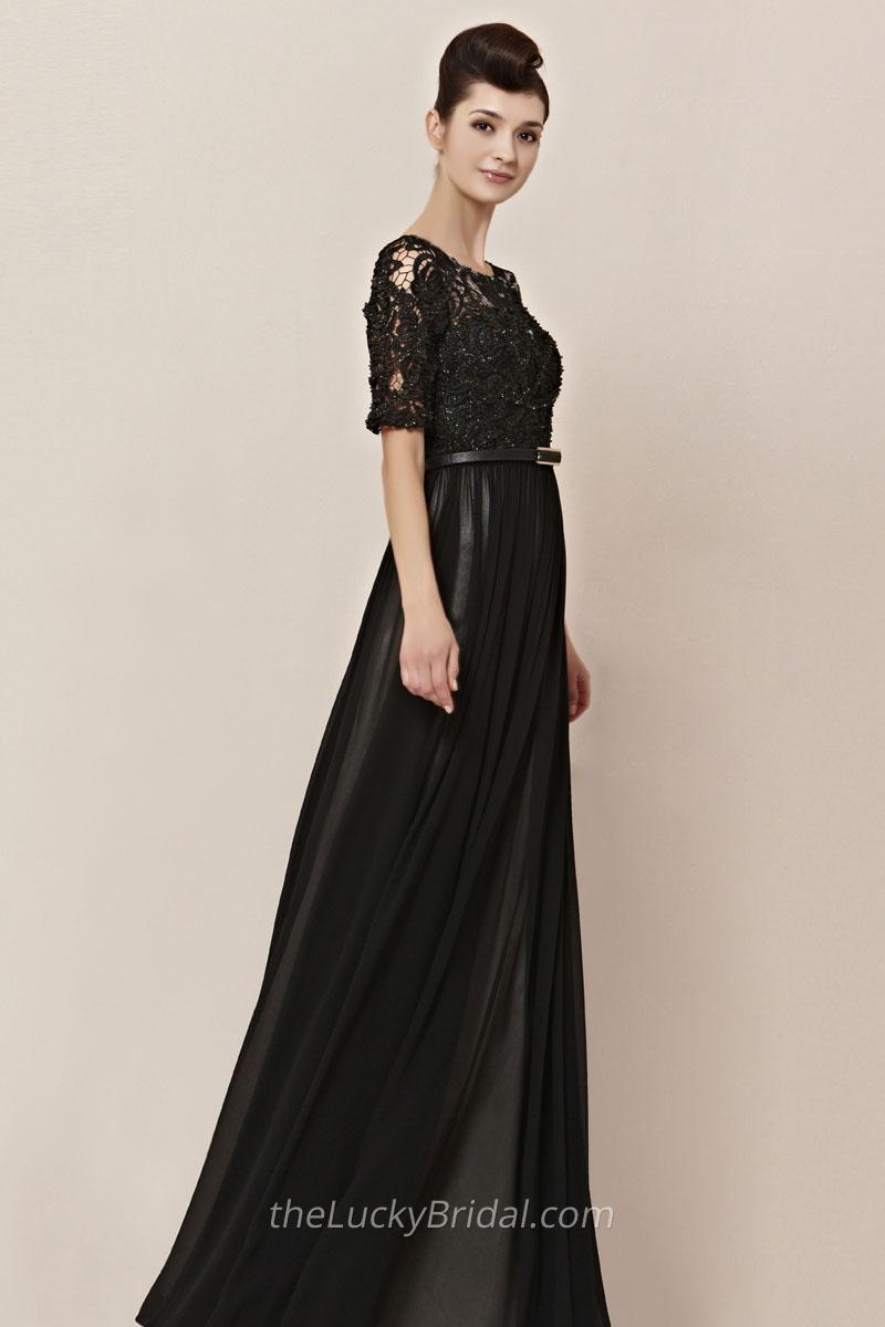Black Evening Dresses Long 2017 Lace Half Sleeves Empire Waist Floor ...
