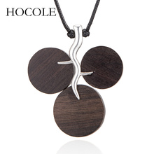 HOCOLE Fashion New Round Wood Pendants Necklace For Women Leather Rope Chain Vintage Ethnic Maxi Chunky Statement Necklaces
