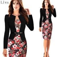 Liva girl nouvelles femmes de mode de femmes de travail bureau crayon à manches longues, gap impression, montage patch dress, été et automne sl