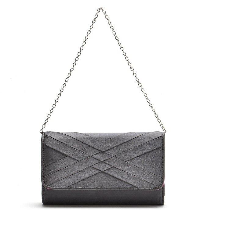 Nuevo Solo bolso de hombro nuevo satén elegante Casual clamshell Embrague trenza