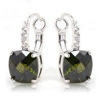 JROSE Wholesale Women Beautiful Noble Peridot White Topaz 925Silver  Dangle Hook Cilp Earrings Jewelry For Women Free Shipping