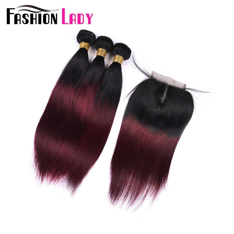 FASHION LADY Pre-Colored 100% Human Hair Ombre Color T1B/99J Indian Straight 3 Bundles With 4x4 Closure Middle Part Non-Remy