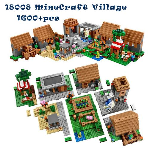 1600+pcs Model building kits compatible with legoingly my worlds MineCraft Village blocks Educational toys hobbies for children 18003 model building kits compatible my worlds minecraft the jungle 116 tree house model building toys hobbies for children