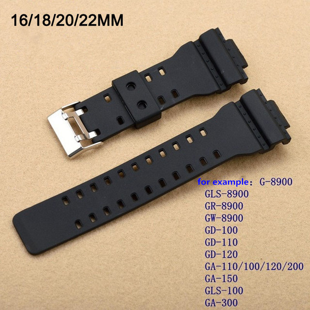 New replacement  Matte Silicone stainless steel clasp  for CASIO GA-100/GA-300/GA-110/GA-120/G-8900 Driving Sport watch