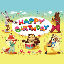 Laeacco Cartoon Birthday Music Party Animal Scene Baby Photography Background Customized Photographic Backdrops For Photo Studio