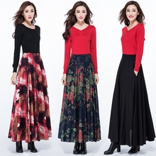 2017 autumn and winter Fashion casual Plus size high waist cotton linen female women girls clothing clothes skirts