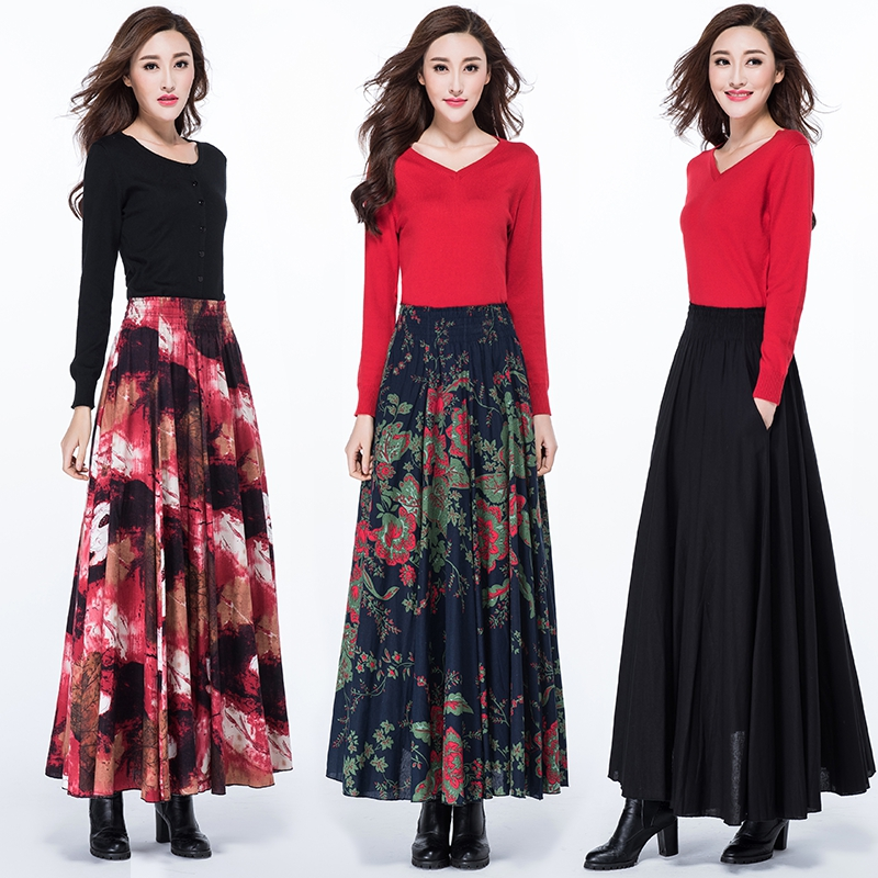 2018 autumn and winter Fashion casual Plus size high waist cotton linen female women girls clothing clothes skirts