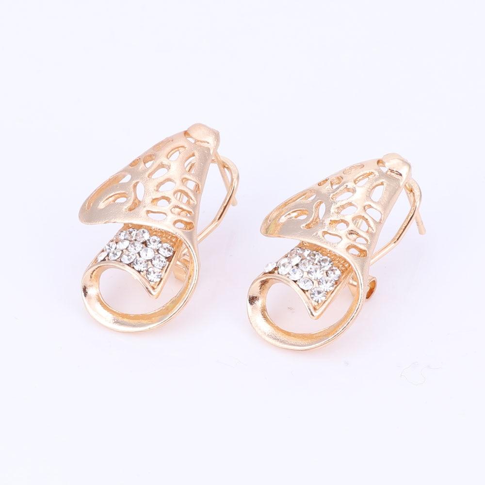 Heißer verkauf dubai kristall strass blume halskette sets gold farbe - Modeschmuck - Foto 5