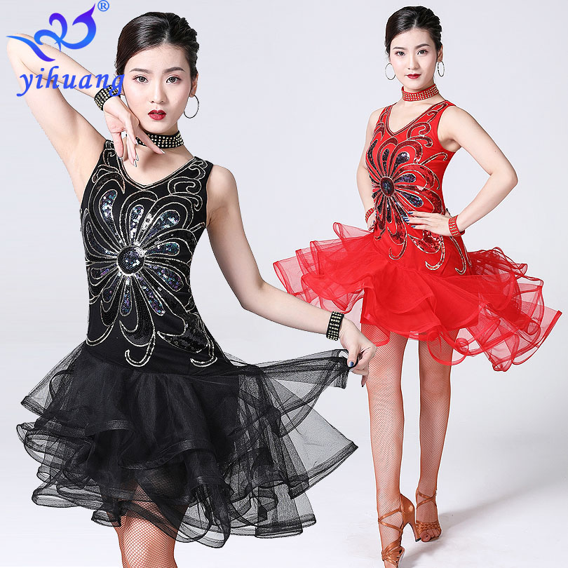 2019 New Style Women Latin Salsa Dance Dress Sequin Bead Embroidery Dresses Girls Cha Cha Ballroom Party Competition Costume