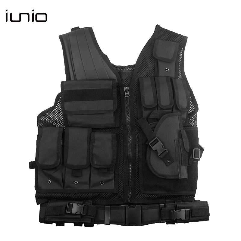 Tactical Vest Mens Plate Carrier Black Military Assault Adjustable Hunting Vest Field Battle Airsoft Outdoor Molle Waistcoat