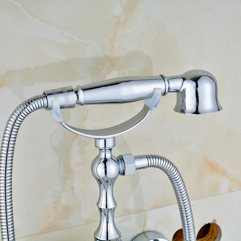 hand held shower for tub faucet. Wall Mounted Rotate Tub Spout Hand Held Shower Bathtub Faucet  Telephone Style Dual Handles in Faucets from Home Improvement on
