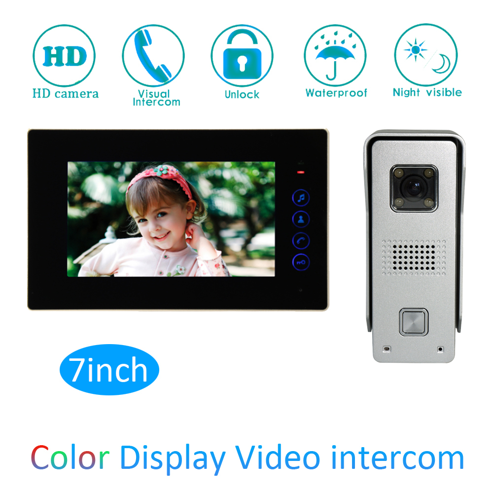 Color Screen Intelligent 1 to 1 Intercom Kit 7 inch LCD Monitor Wire Video Door Phone Doorbell System Security Camera For vistor