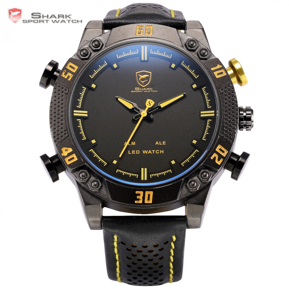 ФОТО Kitefin Shark Sport Watch LED Men Digital Black Yellow Alarm Leather Band Military Relogio Masculino Quartz Wristwatch / SH263