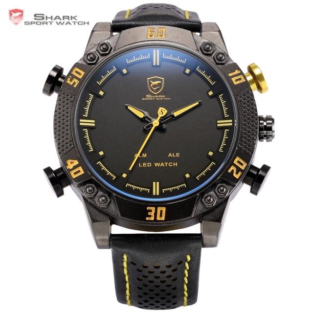 26a9ca854ef Relógio Do Esporte TUBARÃO Kitefin Alarme LED Homens Digital Preto Amarelo  Pulseira de Couro Militar Relogio