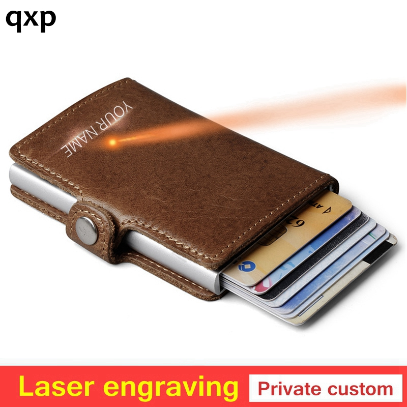 Private customize Genuine Leather Men Aluminum Wallet Pocket Card holder RFID Blocking Mini Automatic Credit Card Purse giftPrivate customize Genuine Leather Men Aluminum Wallet Pocket Card holder RFID Blocking Mini Automatic Credit Card Purse gift