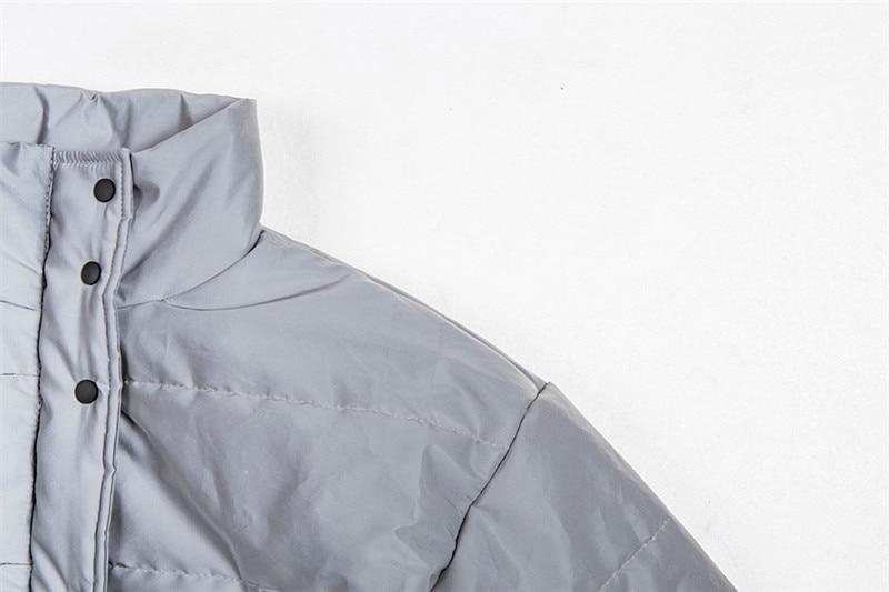 Dulzura flash reflective women padded jacket short tops warm 18 autumn winter solid zipper oversize loose outwear coats casual 23