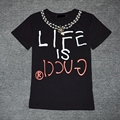 Women's cotton printing letters neckline beaded leisure loose short sleeve T-shirt