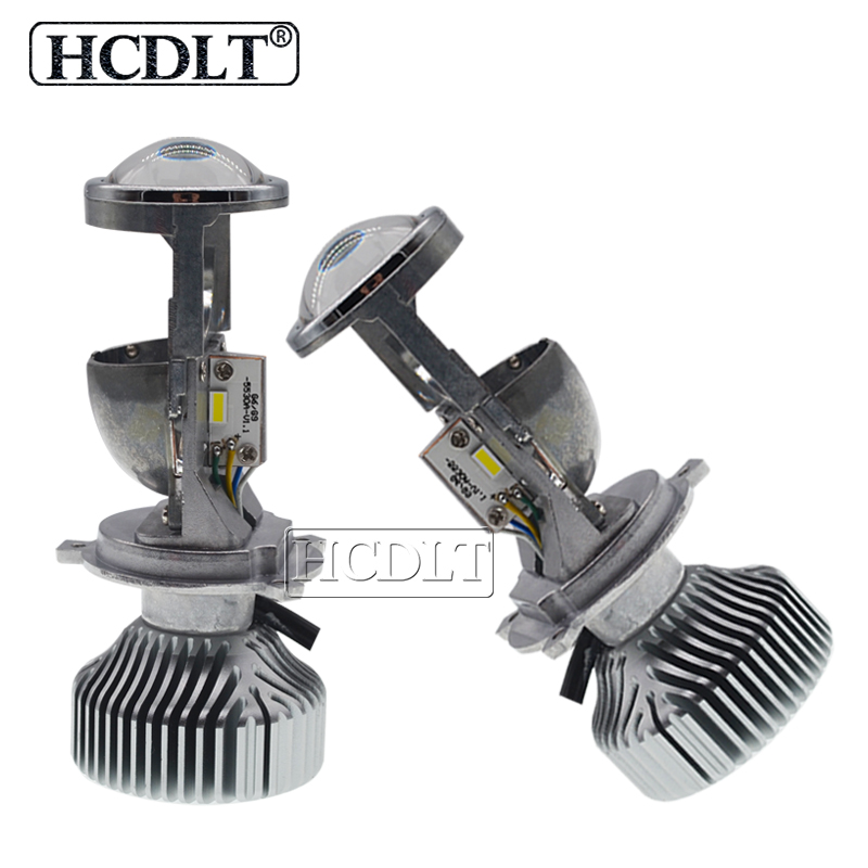 HCDLT 1 Set H4 LED Mini Projector Lens Hi/Lo Beam 1.5 Inch Car LED Headlight Bulbs H4 LHD RHD 70W 5500K White LED Conversion Kit