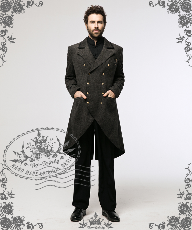 Steampunk Dandy Retro Military Inspired Double Breasted Tweed Tuxedo Frock Coat for Man