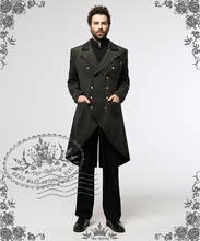 Steampunk Dandy Retro Military Inspired Double-Breasted Tweed Tuxedo Frock Coat for Man