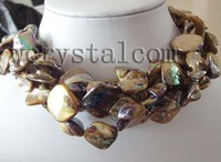 4 Strand Rainbow Brown Mother of Pearl Shell Necklace
