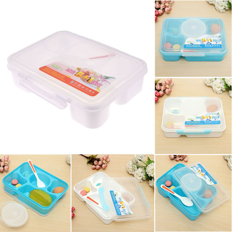 1400ML Plastic LunchBox Food Container For Bento Launch Box Microwave LunchBox With Soup Bowl Food Containers