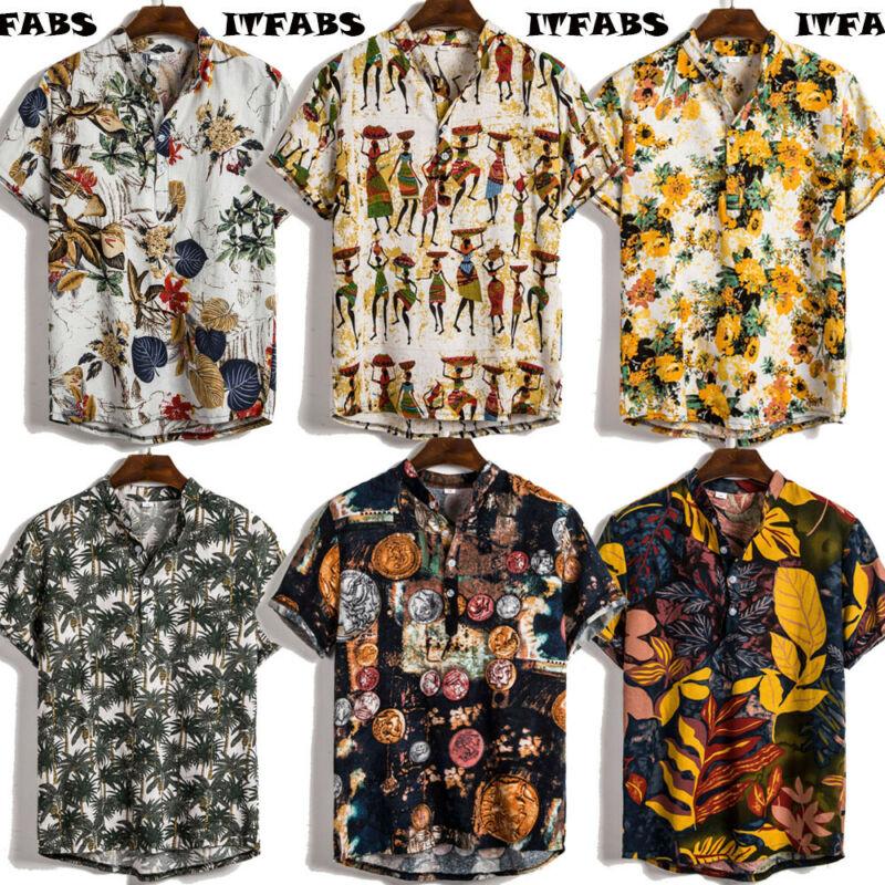 UK Men's Linen Short Sleeve Summer Retro Shirts Casual Loose Soft Tops