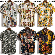 UK Mens Linen Short Sleeve Summer Retro Shirts Casual Loose Soft Tops