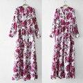 Europa do vintage grande impressão vestido do assoalho-comprimento longo verão 2016 as mulheres se vestem vestido fit e flare floral mulheres muçulmanas até o chão vestido