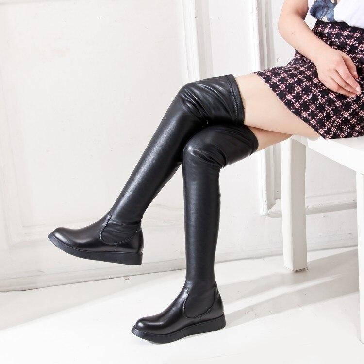 Le suede 2018 Simple 39 Noir Nouvelle Mode Haut Deux Chaud De Rond Matériaux Gamme Confortables Sur Genou Hiver Bout 34 Noir Black Bottes Pieds mN8nywvO0