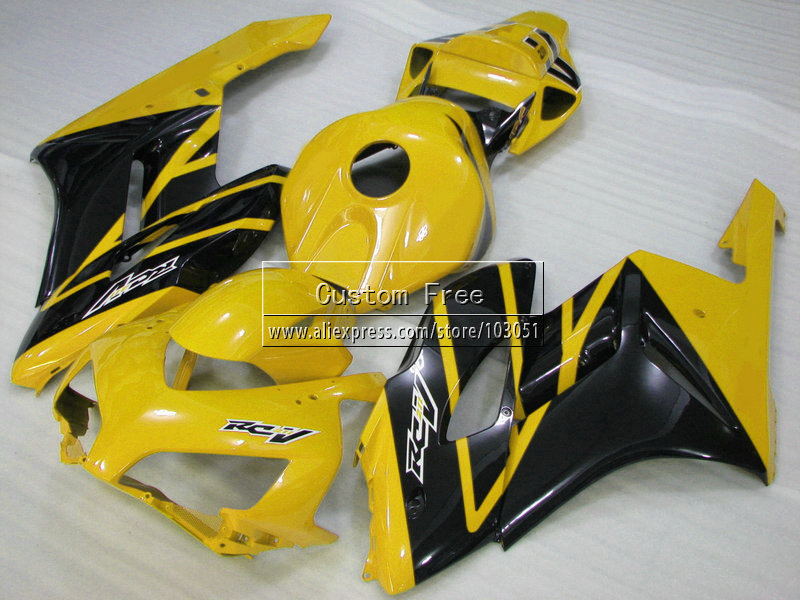 7gifts100% Injection fairing kits for 2004 2005 Honda CBR1000RR CBR 1000 RR 04 05 CBR 1000RR yellow black fairings  kit