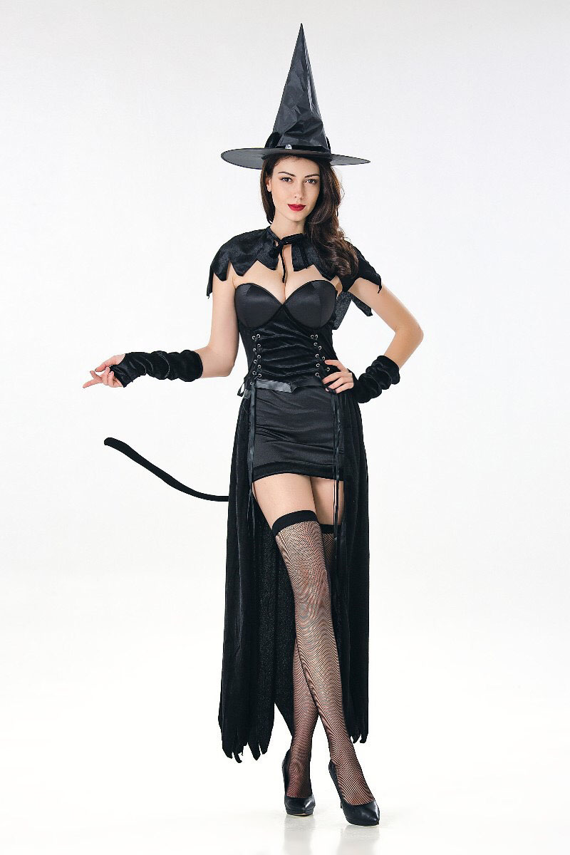304c684f2cb Aliexpress.com : Buy Adult Women Halloween Gothic Sexy Wicked Witch Costume  Strapless Dress Shawl Hat Suit Fancy Cosplay Party Outfit For Ladies from  ...