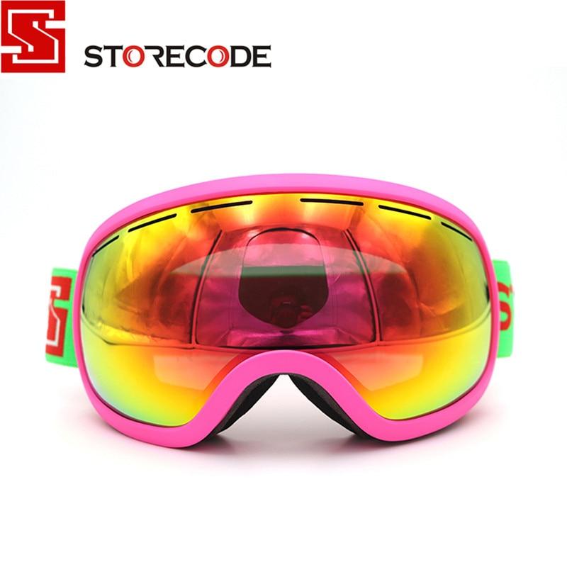 Prix pour StoreCode Marque Lunettes de Ski À Double Lentille Anti-Brouillard UV400 Snowboard Lunettes Hommes Femmes Rose Cadre Ski Neige Lunettes Set S504