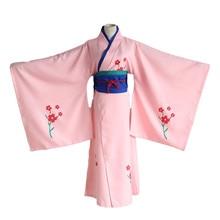 купить Anime Gintama Cosplay Shimura Tae Cos Printed Kimono Halloween Party Full set 4in1(Kimono + girdle+Lumbar pad+ Waist rope) дешево