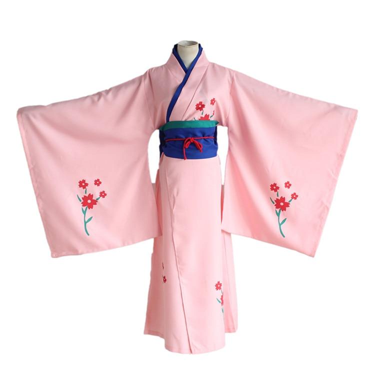 Anime Gintama Cosplay Shimura Tae Cos Printed Kimono Halloween Party Full set 4in1(Kimono + girdle+Lumbar pad+ Waist rope)