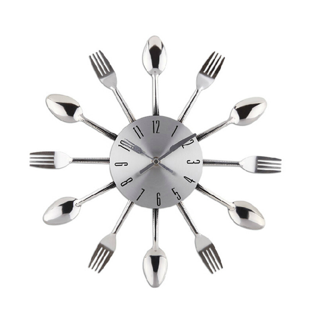 online buy wholesale cool modern clocks from china cool modern  - new spoon fork creative design modern cool silver decoration fashion wallclock kitchen cutlery utensil for
