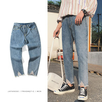 2018 Spring And Summer Department New Youth Popular Street Style Solid Color Nine Jeans Fashion Simple