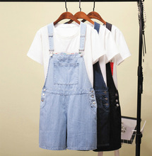 Plus Size Women Clothing Denim Playsuits Strap Rompers Shorts Loose Casual Overalls Jeans Shorts Female Playsuits