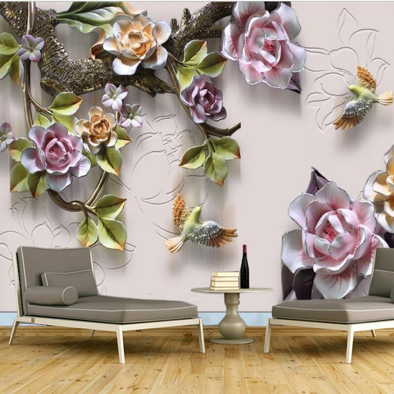 Custom Any Size Mural Wallpaper Non-woven New Chinese 3D Embossed Rose Bedroom Living Room Sofa TV Background Wallpaper Mural