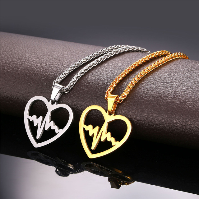 Hot Hot Valentine's Day Gift Heartbeat Necklace For Women Stainless Steel/Gold Plated