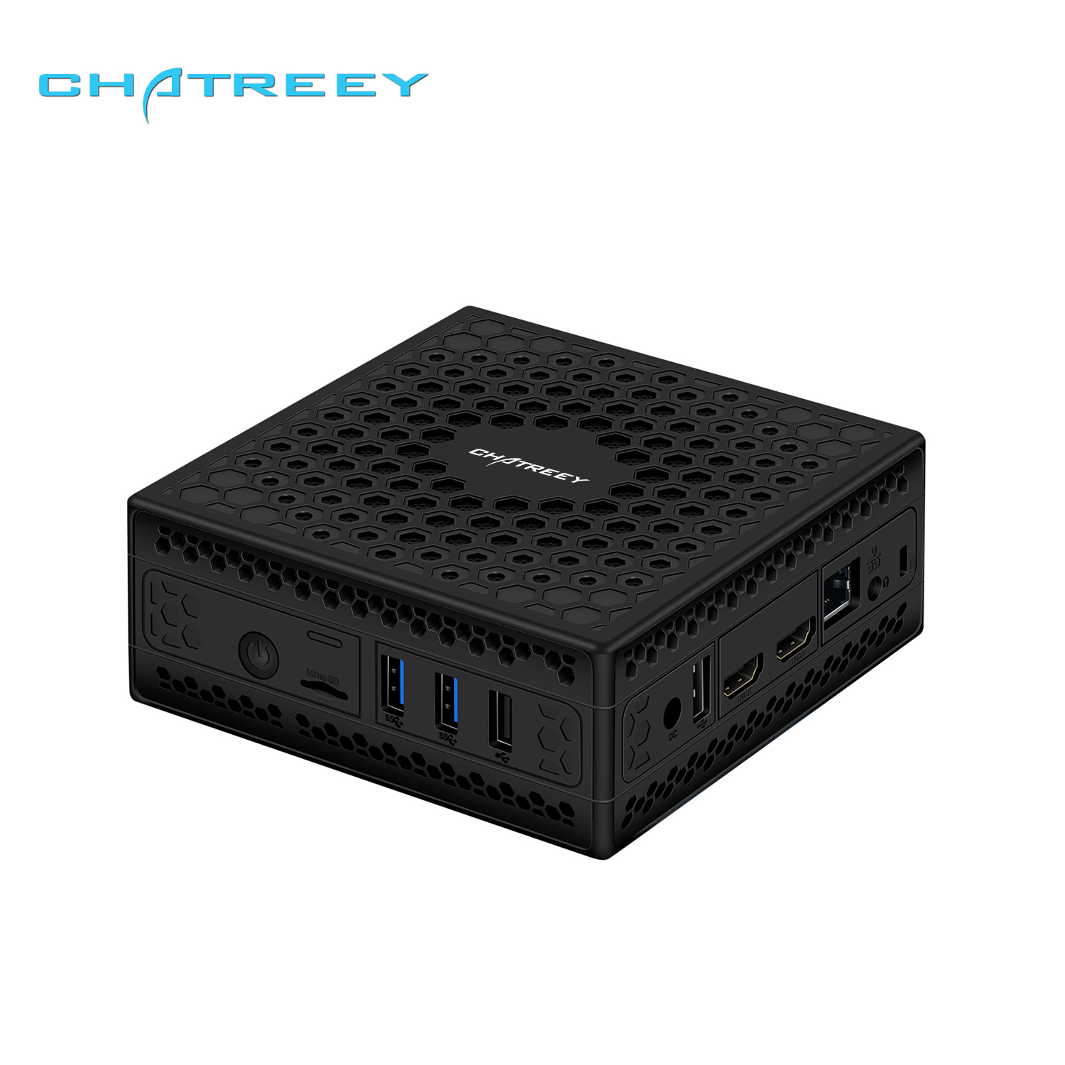Chatrey AC1-Z fanless mini pc embutido intel celeron j3455 j4105 quad core duplo display hdmi windows 10 linux htpc computador