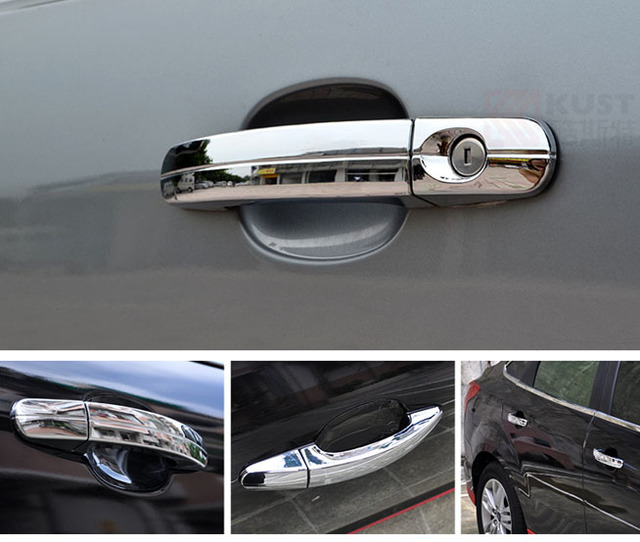 For Ford KUGA ESCAPE 2013-2014-2015 Car Chrome Side door Handle Cover Trim with 1 keyhole car exterior accessory Freeshipping