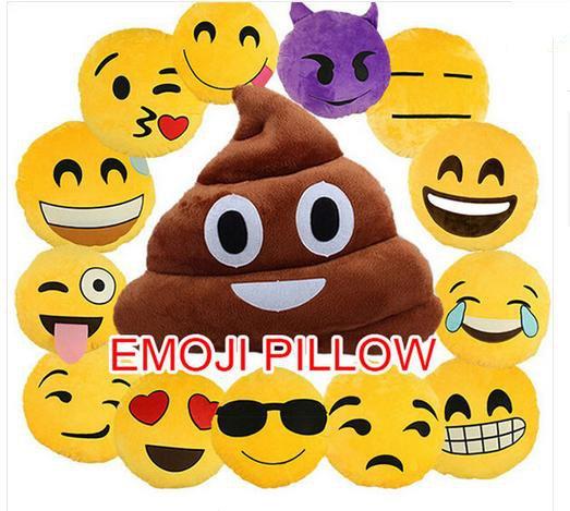 32 Cm Emoji Smileyemoticon Yellow Roundcushion Kissen Gefullt