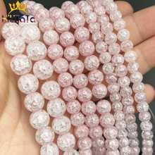 Naturalne światło różowy śnieg pęknięty kryształowy kamień koraliki okrągłe luźne koraliki do tworzenia biżuterii bransoletka Zrób To Sam naszyjnik 15 cali 6/ 8/10m