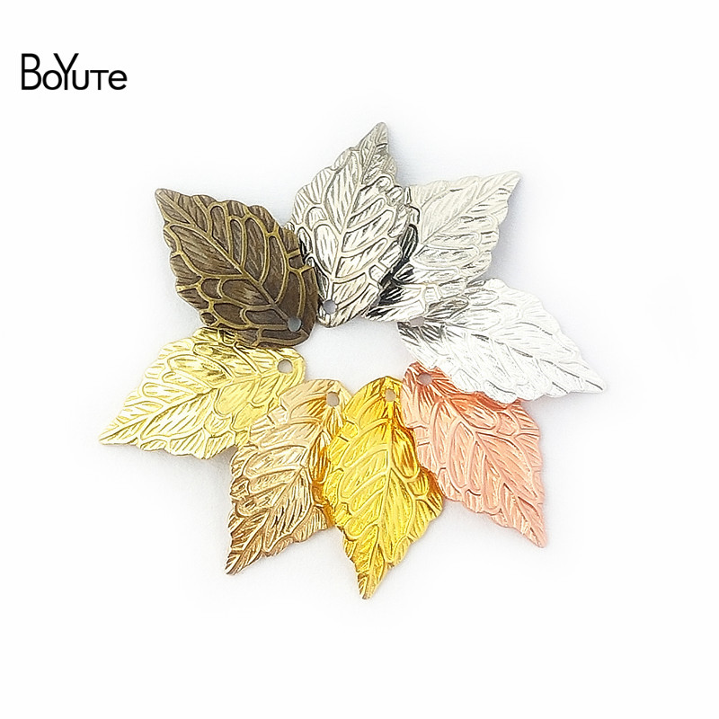 BoYuTe (50 Pieces/Lot) Metal Brass 10*18MM Stamping Leaf Charm Pendants DIY Floating Charms for Jewelry Making