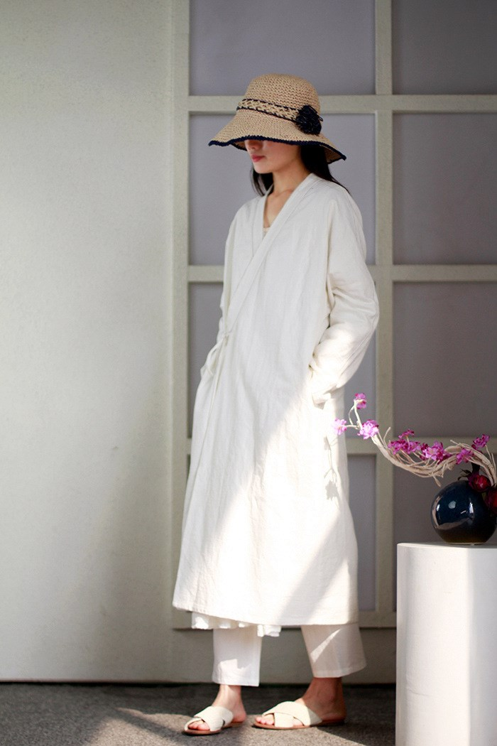 Women Autumn Casual Chinese Style Cotton Outwear Long-Sleeved Tie White Coats Adjustable Waist Loose V-Neck Long   Trench