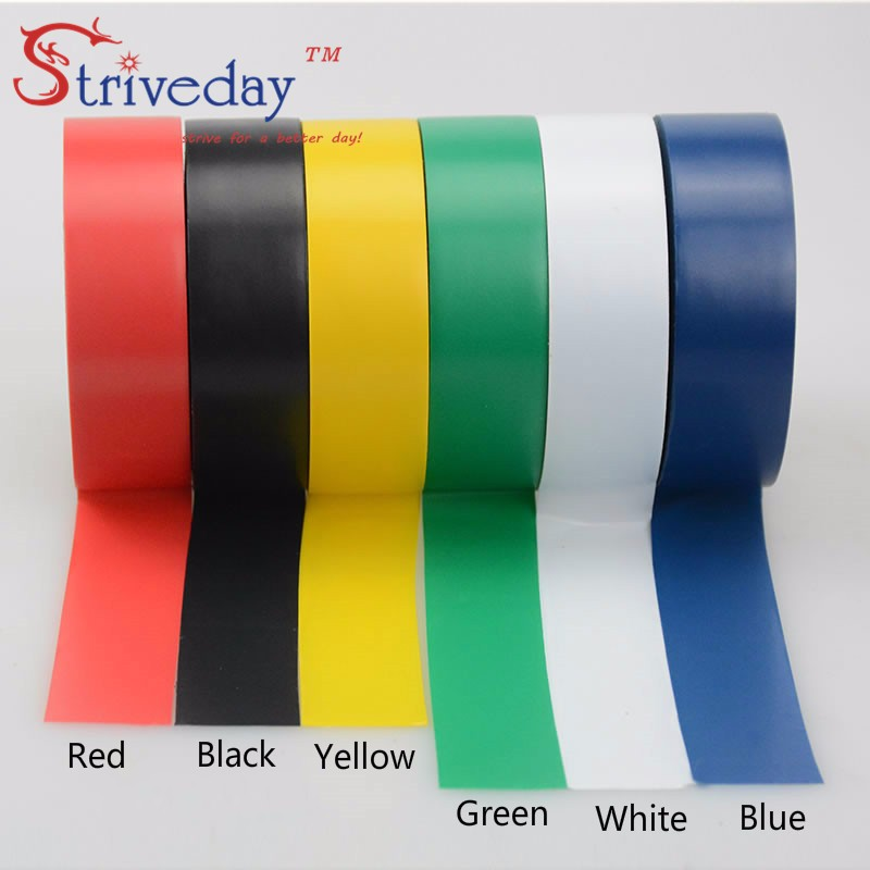 6pcs/bag 6 colors 16mm wide*0.13mm thick*20m long Electrical Tape High Temperature Insulation tape Waterproof PVC  DIY Tapes